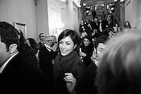 """ROME, ITALY - 24 JANUARY 2013: Mara Carfagna (center), former showgirl and Minister for Equal Opportunities in Silvio Berlusconi IV Cabinet, steps outside the Sala Capranica after the People of Freedom convention in which the former PM and leader of The People of Freedom party presented the PdL candidates for the upcoming general elections in Rome, on January 25, 2013.<br /> <br /> A general election to determine the 630 members of the Chamber of Deputies and the 315 elective members of the Senate, the two houses of the Italian parliament, will take place on 24–25 February 2013. The main candidates running for Prime Minister are Pierluigi Bersani (leader of the centre-left coalition """"Italy. Common Good""""), former PM Mario Monti (leader of the centrist coalition """"With Monti for Italy"""") and former PM Silvio Berlusconi (leader of the centre-right coalition).<br /> <br /> ###<br /> <br /> ROMA, ITALIA - 24 GENNAIO 2013: Mara Carfagna (centro), ex-showgirl and ex-Ministro per le Pari Opportunità nel Governo Berlusconi IV, esce dalla Sala Capranica a conclusione della convention del Popolo della Libertà in cui l'ex premier Silvio Berlusconi ha presentato i candidati PdL alle prossime elezioni politiche, a Roma il 24 gennaio 2013.<br /> <br /> Le elezioni politiche italiane del 2013 per il rinnovo dei due rami del Parlamento italiano – la Camera dei deputati e il Senato della Repubblica – si terranno domenica 24 e lunedì 25 febbraio 2013 a seguito dello scioglimento anticipato delle Camere avvenuto il 22 dicembre 2012, quattro mesi prima della conclusione naturale della XVI Legislatura. I principali candidate per la Presidenza del Consiglio sono Pierluigi Bersani (leader della coalizione di centro-sinistra """"Italia. Bene Comune""""), il premier uscente Mario Monti (leader della coalizione di centro """"Con Monti per l'Italia"""") e l'ex-premier Silvio Berlusconi (leader della coalizione di centro-destra).ROME, ITALY - 24 JANUARY 2013: Silvio Berlusconi, former PM and leader of The Pe"""