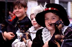 CZECH REPUBLIC BOHEMIA PRAGUE JUL97 - Children of Habsburg Ceasar Rudolf's II court hold pets while sitting on a coach. ..jre/Photo by Jiri Rezac. . © Jiri Rezac 1997. . Tel:   +44 (0) 7050 110 417. Email: jiri@jirirezac.com. Web:   www.jirirezac.com