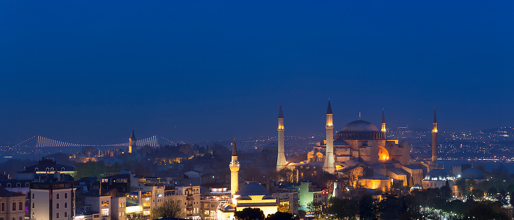 The Blue Mosque, Sultanahmet Camii or Sultan Ahmed Mosque and the Bosphorous River Bridge, Istanbul, Republic of Turkey