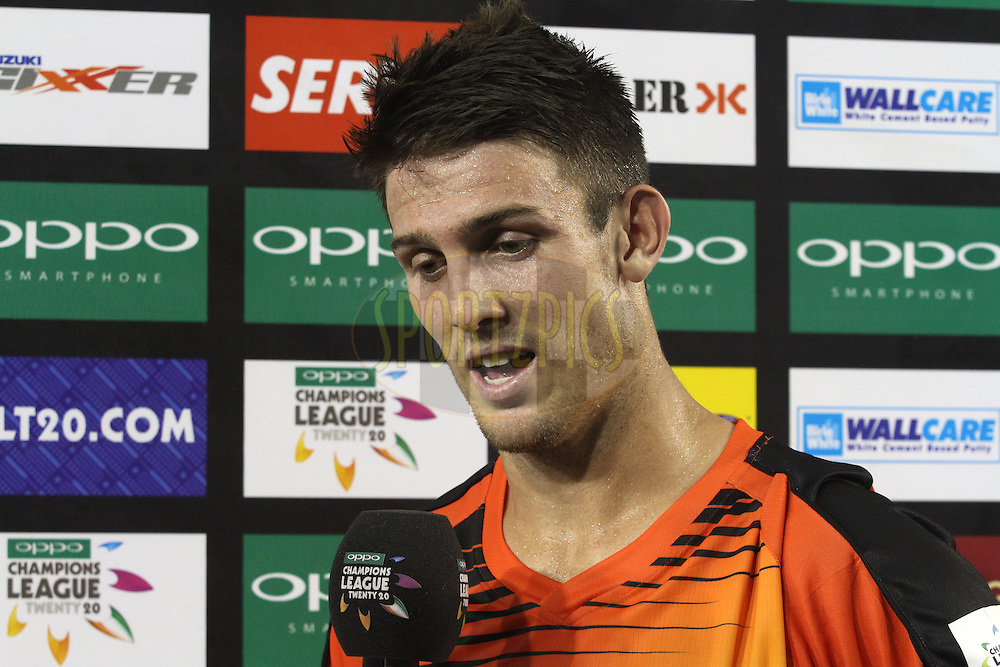 Maon of the Match Mitchell Marsh of the Perth Scorchers during match 4 of the Oppo Champions League Twenty20 between the Dolphins and the Perth Scorchers held at the Punjab Cricket Association Stadium, Mohali, India on the 20th September 2014<br /> <br /> Photo by:  Shaun Roy / Sportzpics/ CLT20<br /> <br /> <br /> Image use is subject to the terms and conditions as laid out by the BCCI/ CLT20.  The terms and conditions can be downloaded here:<br /> <br /> http://sportzpics.photoshelter.com/gallery/CLT20-Image-Terms-and-Conditions-2014/G0000IfNJn535VPU/C0000QhhKadWcjYs