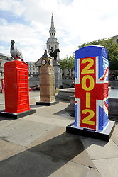 Red K6 telephone boxes transformed into a variety of designs on display in Trafalgar Square in London, Friday, 15th June 2012. The ArtBox project was launched by British Telecom to mark 25 years of the charity ChildLine.  Photo by: Chris Joseph / i-Images