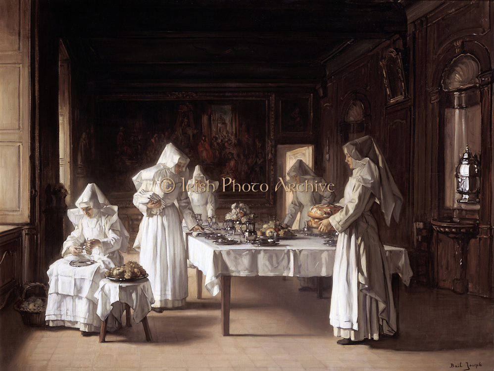 Lunchtime at the Hospice at Beaune' oil on canvas. Joseph Bail (1862-1921) French painter. Sisters of Charity of the Hospices of Beaune in worked in the Hospital for the Poor founded in 1442 by Nicolas Rolin.