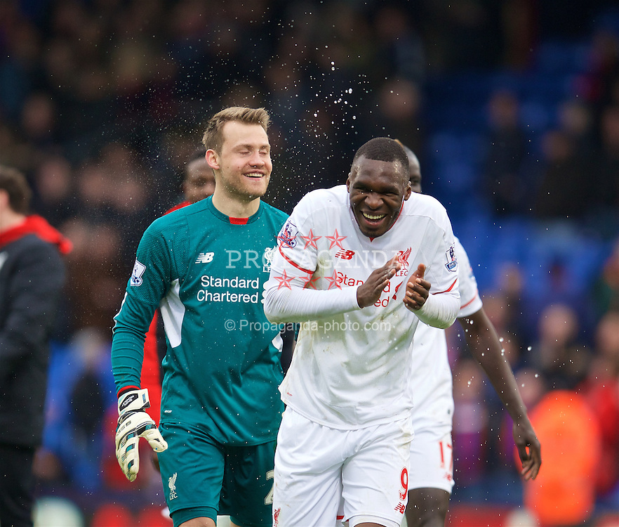 LONDON, ENGLAND - Sunday, March 6, 2016: Liverpool's goal-scoring match-winner Christian Benteke celebrates the 2-1 victory over Crystal Palace with team-mate goalkeeper Simon Mignolet during the Premier League match at Selhurst Park. (Pic by David Rawcliffe/Propaganda)