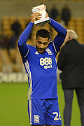 Birmingham City midfielder David Davis (26) with the man of the match award after the victory 1-2 during the EFL Sky Bet Championship match between Wolverhampton Wanderers and Birmingham City at Molineux, Wolverhampton, England on 24 February 2017. Photo by Alan Franklin.