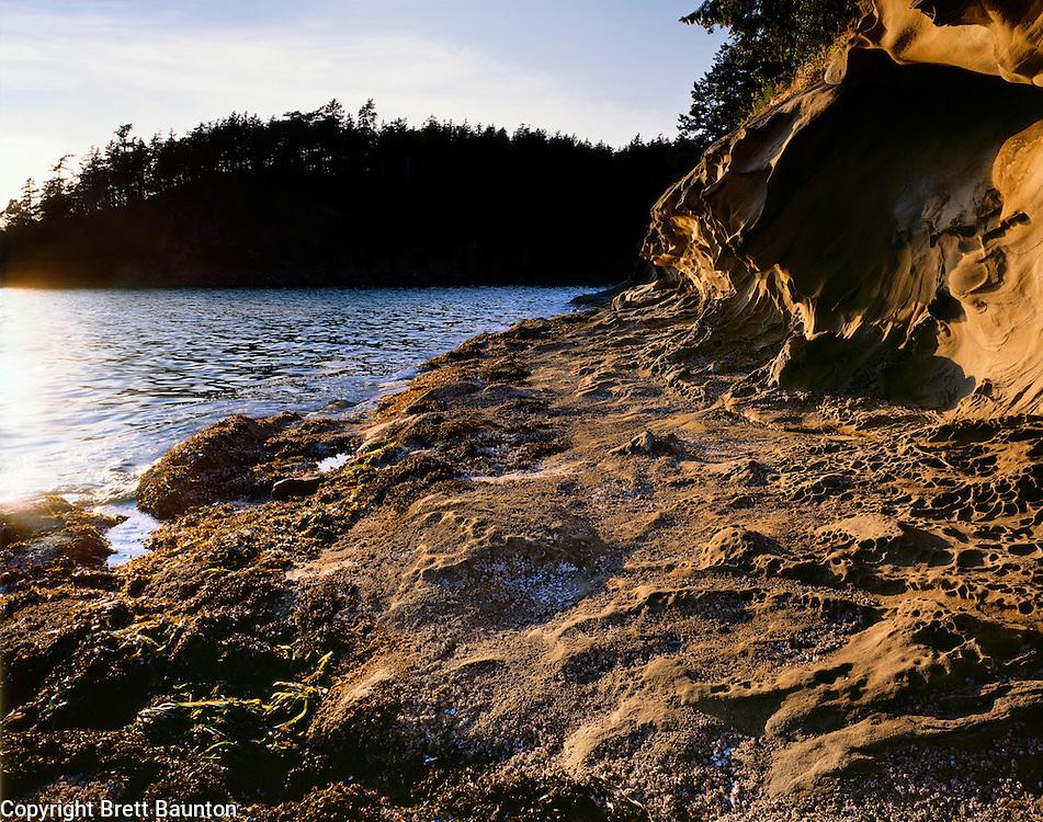 Bellingham Bay, Clark's Point, Sandstone, Sunset, Washington