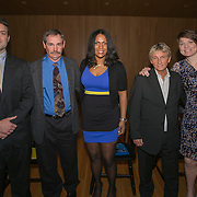 April 25, 2014, Baltimore, MD:<br /> The 2014 class of inductees is shown during the Goucher Athletics 2014 Hall of Fame induction ceremony at Goucher College in Baltimore, Maryland Friday, April 25, 2014.<br /> (Photo by Billie Weiss)