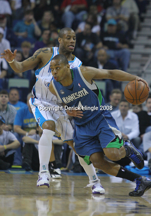 08 February 2009: Minnesota Timberwolves guard Randy Foye (4) drives past New Orleans Hornets guard Antonio Daniels (50) during a NBA game between the Minnesota Timberwolves and the New Orleans Hornets at the New Orleans Arena in New Orleans, LA.