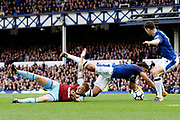 Penalty appeal - Burnley midfielder Scott Arfield (37) goes down in the box with Everton defender Ashley Williams (5) in atendance during the Premier League match between Everton and Burnley at Goodison Park, Liverpool, England on 1 October 2017. Photo by Craig Galloway.