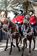 Costumed riders at the traditional Sa Sartiglia festival on Shrove Tuesday in Oristano, Sardinia, Italy.