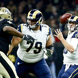 Nov 27, 2016; New Orleans, LA, USA;  Los Angeles Rams quarterback Jared Goff (16) throws against the New Orleans Saints during the first quarter of a game at the Mercedes-Benz Superdome. Mandatory Credit: Derick E. Hingle-USA TODAY Sports