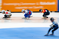 Sven Roes in action on the 5000 meter relay during ISU World Cup Finals Shorttrack 2020 on February 15, 2020 in Optisport Sportboulevard Dordrecht.