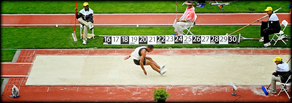 The superb style of Bryan Clay in the long jump, 22 June 2012, Hayward Field, Eugene, Oregon, USA.