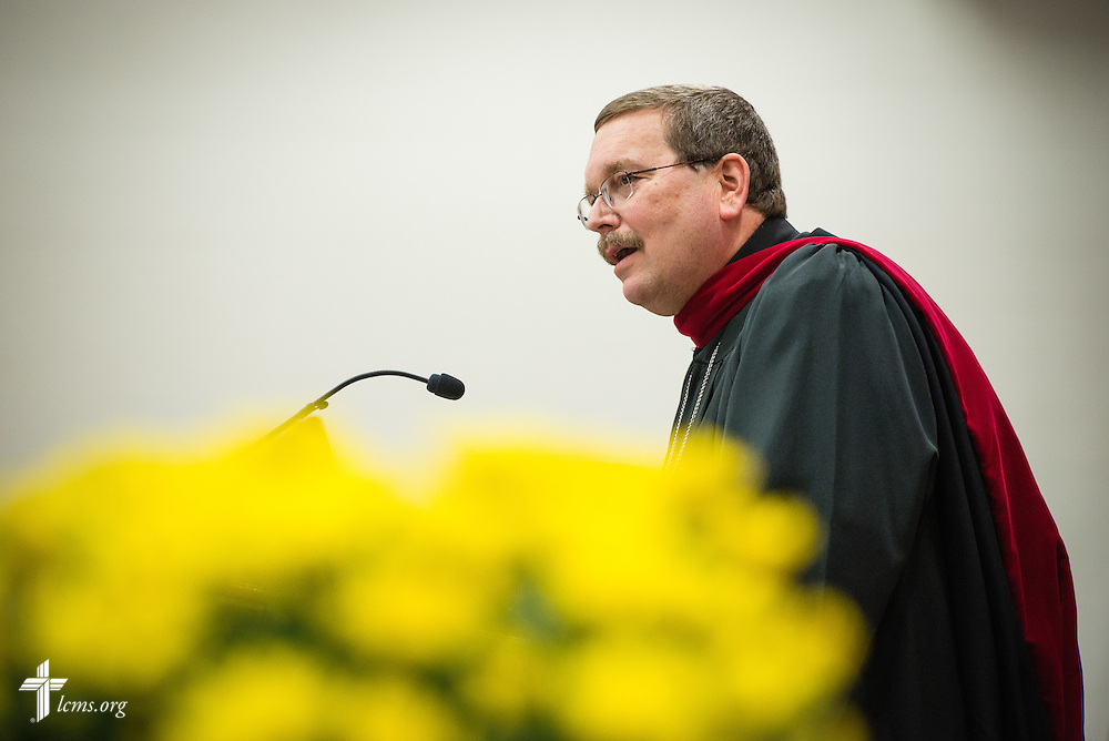 The Rev. Dr. Herb Mueller, LCMS First Vice-President, addresses the audience during the inauguration of the Rev. Dr. Daniel Lee Gard, president of Concordia University Chicago, at the college in River Forest, Ill., on Friday, Oct. 10, 2014. LCMS Communications/Erik M. Lunsford