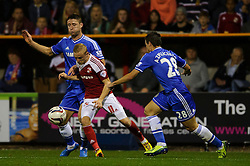 Swindon Forward Alex Pritchard (ENG) is challenged by Chelsea Defender Cesar Azpilicueta (ESP) during the second half of the match - Photo mandatory by-line: Rogan Thomson/JMP - Tel: 07966 386802 - 24/09/2013 - SPORT - FOOTBALL - The County Ground - Swindon Town v Chelsea - Capital One Cup Round 3.