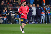 Barcelona forward Lionel Messi  (10) warm up during the Champions League quarter-final leg 2 of 2 match between Barcelona and Manchester United at Camp Nou, Barcelona, Spain on 16 April 2019.