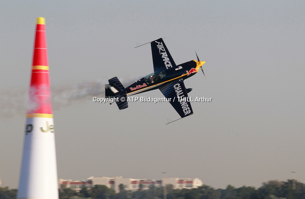 Peter BESENYEI, Hungary, in the plane type Corvus Racer 540, Challenger Cup.<br /> ABU DHABI 14. February 2015 - Air Race, Red Bull Air Race event in the United Arab Emirates - UAE, <br /> Flugzeug Rennen in den Vereinigte Arabische Emirate, Honorarpflichtiges Foto, Fee liable image, Copyright &copy; ATP THILL Arthur