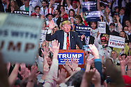 Madison, Mississippi, March 7, 2016 Republican presidential candidate Donald Trump asking supporters to pledge supprot to vote for him during a campaign rally the day before Mississippi primary.