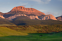 Sunrise over the Rocky Mountain Front Range near Choteau Montana