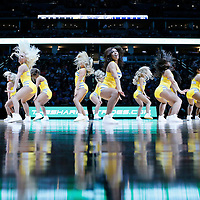10 April 2016: The Nuggets Dancers perform during the Utah Jazz 100-84 victory over the Denver Nuggets, at the Pepsi Center, Denver, Colorado, USA.