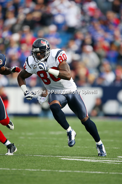 Houston Texans wide receiver Andre Johnson (80) goes out for a pass during the NFL football game against the Buffalo Bills, November 1, 2009 in Orchard Park, New York. The Texans won the game 31-10. (©Paul Anthony Spinelli)