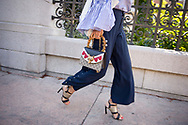 Gucci Bag and Snap Button Pants at Tory Burch SS2018
