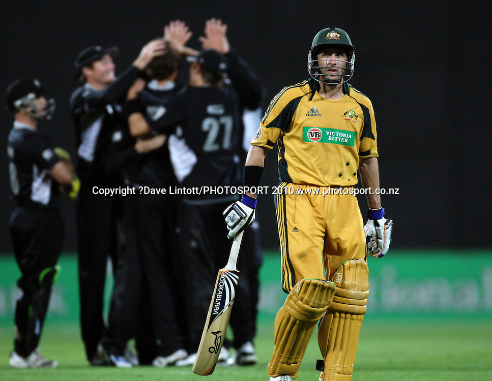 Australia's Michael Hussey walks off after being dismissed by Tim Southee.<br /> Fifth Chappell-Hadlee Trophy one-day international cricket match - New Zealand v Australia at Westpac Stadium, Wellington. Saturday, 13 March 2010. Photo: Dave Lintott/PHOTOSPORT