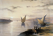 David Roberts (1796-1864) British (Scottish) artist. 'Boats on the Nile'  Watercolour. Bottom right, water is being raised by means of a shaduf. Victoria and Albert Museum, London