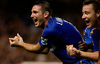 Photo: Daniel Hambury.<br /> Chelsea v West Bromwich Albion. The Barclays Premiership.<br /> 24/08/2005.<br /> Chelsea's Frank Lampard celebrates the birth of his child when celebrating his second goal.
