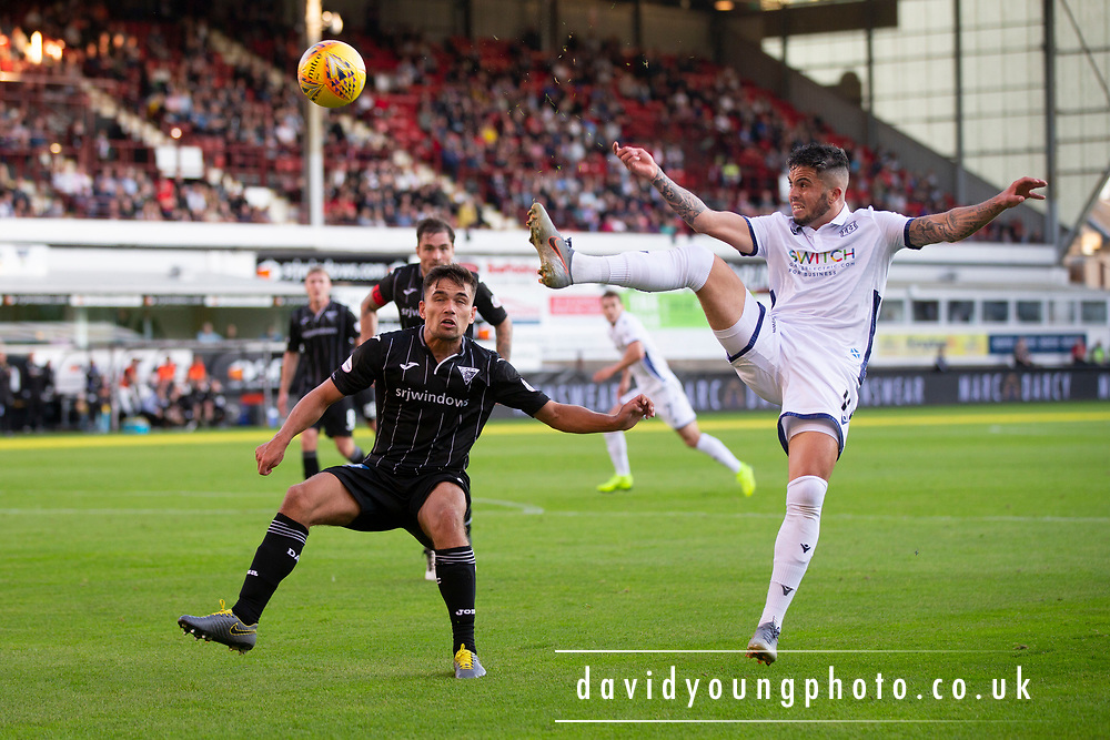 2nd Aug 2019, East End Park, Dunfermline, Fife, Scotland, Scottish Championship football, Dunfermline Athletic versus Dundee;  Declan McDaid of Dundee and Aaron Comrie of Dunfermline Athletic