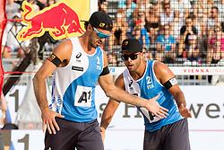 28.07.2017, Donauinsel, Wien, AUT, FIVB Beach Volleyball WM, Wien 2017, Herren, Gruppe J, im Bild v.l. Alex Ranghieri (ITA), Adrian Carambula (ITA) // f.l. Alex Ranghieri of Italy Adrian Carambula of Italy during the men's group J match of 2017 FIVB Beach Volleyball World Championships at the Donauinsel in Wien, Austria on 2017/07/28. EXPA Pictures © 2017, PhotoCredit: EXPA/ Sebastian Pucher