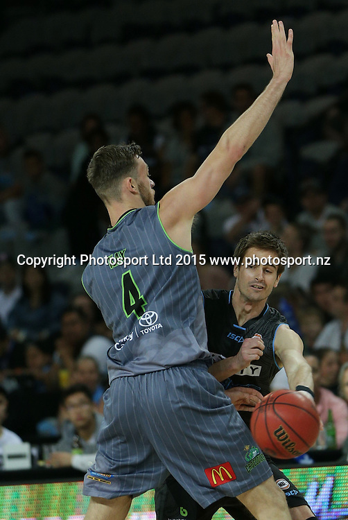 Breakers` Shane McDonald is challenged by Crocodiles' Nicholas Kay in an ANBL Basketball Match, New Zealand Breakers v Townsville Crocodiles, Vector Arena, Auckland, New Zealand, Sunday, October 11, 2015. Copyright photo: David Rowland / www.photosport.nz