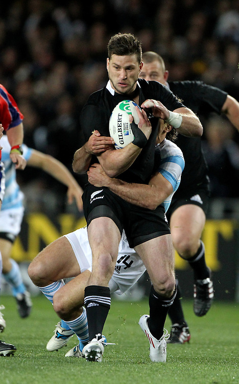 New Zealand Corey Jane against Argentina in their Rugby World Cup quarter-final match at Eden Park, Auckland,  New Zealand, Sunday, October 09, 2011. Credit:SNPA / John Cowpland