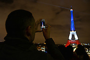 EIFFEL TOWER illuminating blue white and red <br /> <br /> TERRORIST ATTACKS IN PARIS - TRIBUTE TO VICTIMS - EIFFEL TOWER illuminating BLUE WHITE RED '<br /> ©Exclusivepix Media