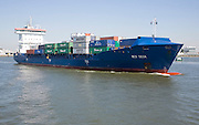 """Heavily laden container ship 'WES GESA"""" on the River Maas, Port of Rotterdam, Netherlands"""