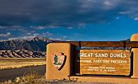 Sign at the entrance station, Great Sand Dunes National Park and Preserve, Colorado.