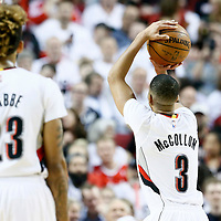 25 April 2016: Portland Trail Blazers guard C.J. McCollum (3) is seen at the free throw line next to Portland Trail Blazers guard Allen Crabbe (23) during the Portland Trail Blazers 98-84 victory over the Los Angeles Clippers, during Game Four of the Western Conference Quarterfinals of the NBA Playoffs at the Moda Center, Portland, Oregon, USA.