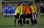 Team Huddle during the Sussex Women's Challenge Cup Final between Brighton Ladies and Chichester City Ladies at Culver Road, Lancing, United Kingdom on 12 March 2015.