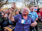 "16 APRIL 2019 - DES MOINES, IOWA: Supporters of Mayor Pete Buttigieg, the mayor of South Bend, Indiana, try to shutdown homophobic hecklers who tried to disrupt Buttigieg's rally. ""Mayor Pete,"" as he goes by, declared his candidacy to be the Democratic nominee for the US Presidency on April 14. About 1,000 people attended his first rally in Iowa since officially declaring his candidacy. Iowa traditionally hosts the the first selection event of the presidential election cycle. The Iowa Caucuses will be on Feb. 3, 2020.                PHOTO BY JACK KURTZ"