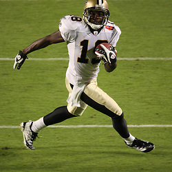 2010 February 07: New Orleans Saints wide receiver Devery Henderson (19) runs after a catch during a 31-17 win by the New Orleans Saints over the Indianapolis Colts in Super Bowl XLIV at Sun Life Stadium in Miami Gardens, Florida.