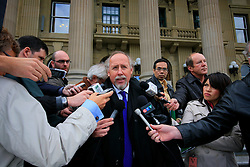 CANADA EDMONTON 6OCT09 - Press conference held by legal counsel Brian Beresh outside the Legislative Assembly of Alberta  in Edmonton, Canada...Prominent Alberta lawyer Brian Beresh raised concerns today that Alberta Premier Ed Stelmach is unconstitutionally using his position as premier to exert political influence over the judicial system and undermine the right to fair trials for Greenpeace activists...Photo by Jiri Rezac / GREENPEACE