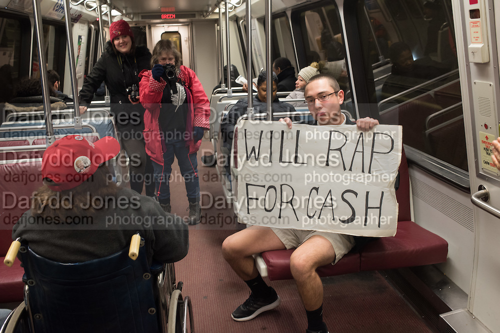 HYPE MIKE , MICHAEL ESTES JNR. Public going to the Inauguration of Donald Trump and demonstrators and various entrances,  Washington DC. 20  January 2017