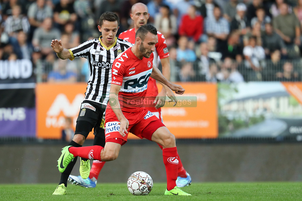 July 29, 2017 - Charleroi, BELGIUM - Charleroi's Gaetan Hendrickx and Kortrijk's Idir Ouali fight for the ball during the Jupiler Pro League match between Sporting Charleroi and KV Kortrijk, in Charleroi, Saturday 29 July 2017, on the first day of the Jupiler Pro League, the Belgian soccer championship season 2017-2018. BELGA PHOTO VIRGINIE LEFOUR (Credit Image: © Virginie Lefour/Belga via ZUMA Press)