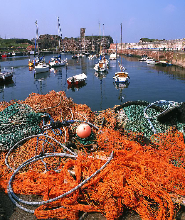 Dunbar harbour and Castle, East Lothian.