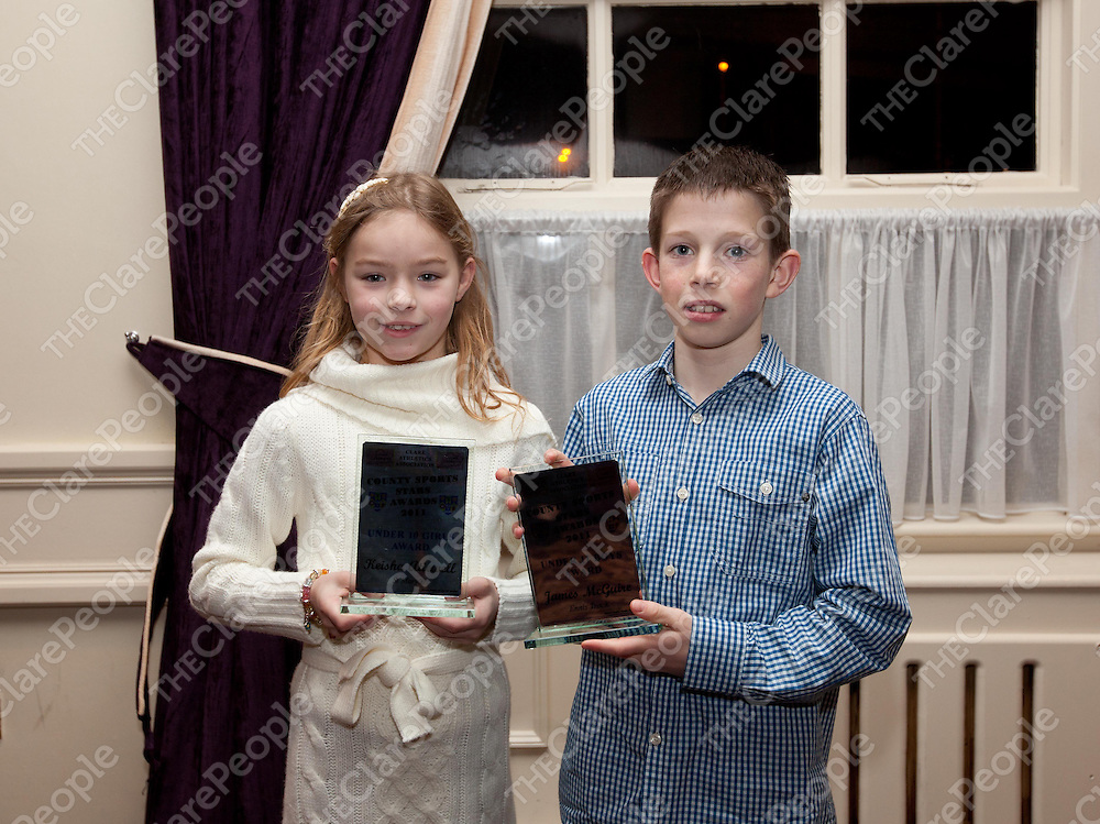 Keisha Attewell, under 10 girls and James McGuire, under 11 boys at the County Sports Stars awards held at the Auburn Lodge.  Pic Press 22.