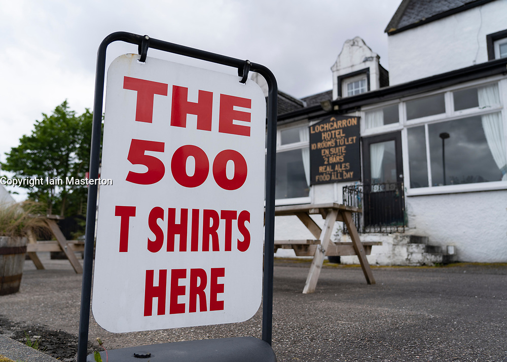 North Coast 500 merchandise for sale at Loch Carron Hotel on the North Coast 500 driving route in northern Scotland, UK