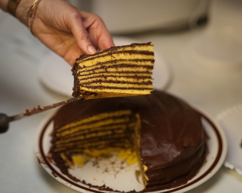 A cut slice of Smith Island Cake
