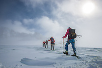 A team of four mountaineers as seen druing a long and exhausting traverse of Glacier Blanche on a cold and cloudy Winter day.