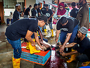 """22 AUGUST 2018 - GEORGE TOWN, PENANG, MALAYSIA: Men sacrifice a goat during Eid al-Adha services at Kapitan Keling Mosque in George Town. It is the oldest mosque in George Town. Eid al-Adha, """"Feast of the Sacrifice"""" is the second of two Islamic holidays celebrated worldwide each year. It honors the willingness of Ibrahim (Abraham) to sacrifice his son as an act of obedience to God's command.    PHOTO BY JACK KURTZ"""
