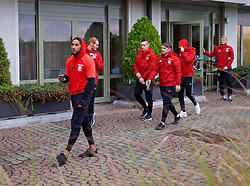 VIENNA, AUSTRIA - Thursday, October 6, 2016: Wales' captain Ashley Williams during a pre-match walk at the Hilton Danube Waterfront Hotel ahead of the 2018 FIFA World Cup Qualifying Group D match against Austria. (Pic by David Rawcliffe/Propaganda)