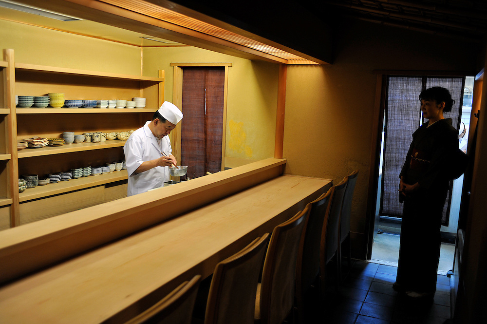 Japanese traditional restaurant CHIHANA..Mr Katsuyoshi NAGATA, owner and chef, at work and his wife